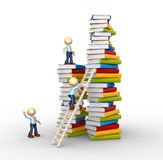 Aspiration to knowledge!. 3d people - man, person and stack of books. Aspiration to knowledge Stock Photo