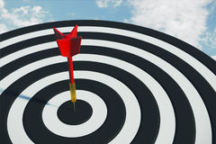 Aspirations concept. Close up of success dart board target with arrows on sky background. Aspirations concept. 3D Rendering vector illustration
