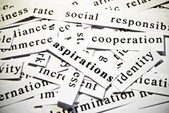 Aspirations. Concept of cutout words related with business. stock photo