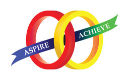 Aspire Achieve Motto Sports Symbol Illustration. Two circles interlocked with the aspire and achieve words vector illustration