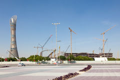 The Aspire tower and Khalifa Stadium in Doha, Qatar Royalty Free Stock Photos
