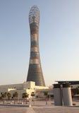 aspirera det doha tornet fotografering för bildbyråer