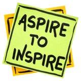 Aspirera för att inspirera påminnelse eller råda fotografering för bildbyråer