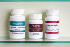 Aspirin-Ibuprofen Acetaminophen Stock Foto