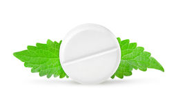 Aspirin with mint Royalty Free Stock Images