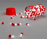 Aspirin pills and bottle Royalty Free Stock Image