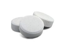 Aspirin Tablets. With shadow with clipping path isolated on white background Stock Image