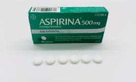 Aspirina drug box and tablets stock photography
