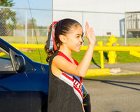 Aspiring Cheerleader Goes To Practice Stock Images