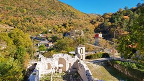 Aspraggeloi village in prefecture of Ioannina greece and church tha burned from German in second world war Stock Image