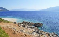 Aspros Gialos beach in Ithaca island Royalty Free Stock Image
