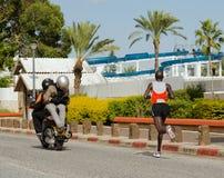 Asrat Mamo Marathon Runner. Asrat Mamo leading the Israeli runners at Tiberius 2013 marahon Royalty Free Stock Photos