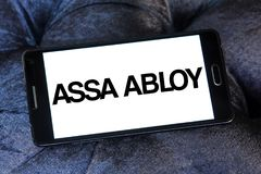 Assa Abloy lock manufacturer logo. Logo of Assa Abloy brand on samsung mobile. The Assa Abloy Group is a Swedish lock manufacturer, and is the world largest lock Stock Photography