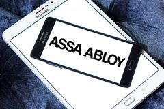 Assa Abloy lock manufacturer logo. Logo of Assa Abloy brand on samsung mobile. The Assa Abloy Group is a Swedish lock manufacturer, and is the world largest lock Stock Photo