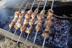 Assado da carne em skewres Fotos de Stock