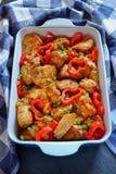 Assado delicioso da carne de carne de porco com vegetais Fotografia de Stock Royalty Free