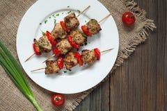 Assado delicioso tradicional do espeto do no espeto do peru imagens de stock