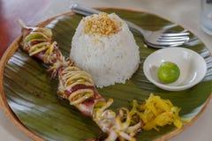 Assado do calamar com arroz Foto de Stock Royalty Free