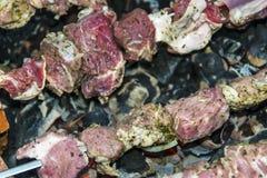 Assado do no espeto no carvão de pedra do forno dos espetos cru Imagem de Stock