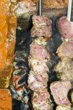 Assado do no espeto no carvão de pedra do forno dos espetos cru Imagens de Stock