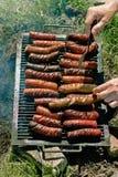 Assado - grade na natureza, salsichas na grade Fotos de Stock