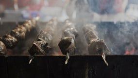 Assado, grelha, cheiros, alimento que cozinha espetos com carne do no espeto na bobina video estoque