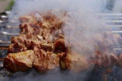 Assado na natureza no verão Carne de carne de porco no fumo nos carvões, alimento saudável, close up fotos de stock
