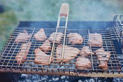 Assado no forestshashlik na natureza Processo de cozinhar a carne no assado, close up Fotos de Stock Royalty Free