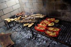 Assado que cozinha nos carvões imagem de stock