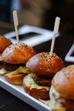 Assaggio dell'hamburger Immagini Stock Libere da Diritti