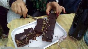 Assaggio dolce dell'alimento di sapore del cioccolato Immagini Stock