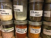 Assaisonnement d'épice rectifié dans le maçon Jar Photographie stock libre de droits