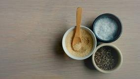 Assaisonnement de sel, de poivre et de sucre Image stock