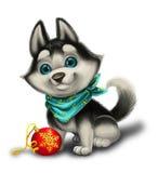 Assaisonnez les salutations du ` s avec Husky Puppy Playing mignon avec des jouets - Joyeux Noël et bonne année - personnage de d Photos libres de droits