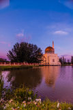 Assalam mosque in evening. This floating mosque with reflection in the evening royalty free stock photo