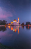 Assalam Mosque at night. Floating mosque in puchong selangor malaysia with reflection at lake royalty free stock image