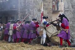 Assalga la città di Brihuega, durante la rimessa in vigore della guerra di Immagine Stock