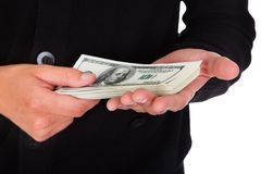 Assaltante Holding Money Fotos de Stock Royalty Free