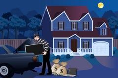 Assaltante Stealing From uma ilustração da casa Foto de Stock Royalty Free