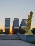 Assalto de três Perekopa no alvorecer Em Krasnoperekopsk imagens de stock