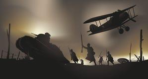 Assalto francês nas trincheiras da guerra 14 ilustração do vetor