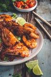 Assam krewetka lub krewetka w tamarynda kumberlandzie, Malezyjski jedzenie zdjęcia stock