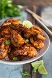 Assam krewetka, Piec na grillu krewetka w tamaryndy marynacie Malezyjski jedzenie obraz stock