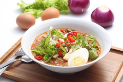 Assam Laksa. A bowl of Malaysian Assam Laksa noodle royalty free stock image