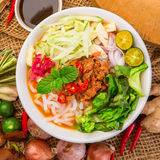 Assam Laksa Noddle in Tangy Fish Gravy Royalty Free Stock Photo