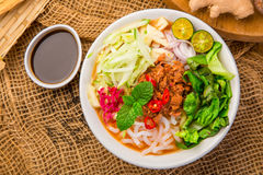 Assam Laksa Noddle in Tangy Fish Gravy Stock Image
