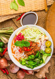 Assam Laksa Noddle in Tangy Fish Gravy Royalty Free Stock Photos