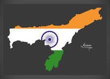 Assam map with Indian national flag illustration Royalty Free Stock Photo