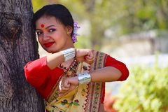 Assamese girl In traditional attire posing. Bihu Dance, Pune, Maharashtra stock photo