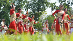 Assamese peoples celebrating Rongali  Bihu at Rong Ghar Royalty Free Stock Images